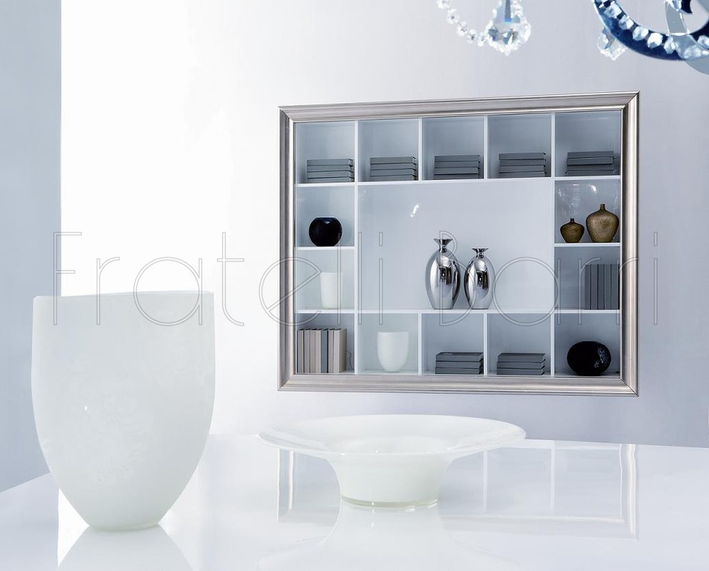 Shelving unit, finishes white gloss lacquer, silver leaf FRATELLI ...